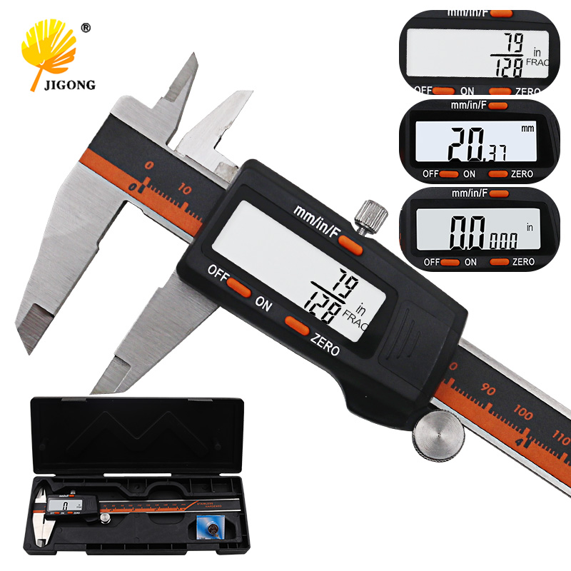 Calibrador de pantalla Digital de acero inoxidable MM de 150 MM de fracción/MM/pulgadas de alta precisión de acero inoxidable calibrador Vernier LCD