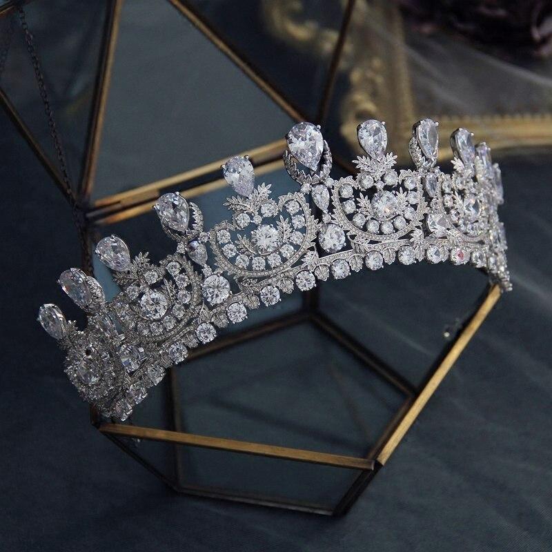 AAA Zircao coroas tiraras moda coroa de noiva acessorios vestido de Noiva mulheres cabeca joias cabelo princesa bijoux цена