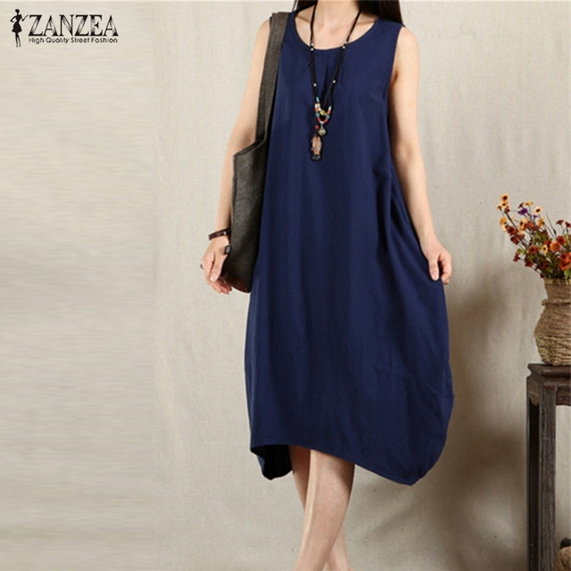 84850e2348ec ZANZEA 3 Colors Women Summer Dress Sexy Sleeveless O Neck Casual Loose  Baggy Pockets Midi-length Dress Plus Size Vestidos
