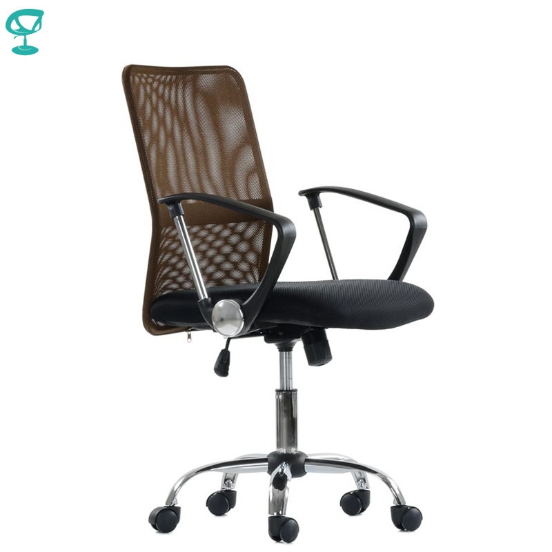 K147FbBrown Office Chair Barneo K-147 Fabric And Mesh High Back Plastic Armrests Withgas Lift Roller Free Shipping In Russia
