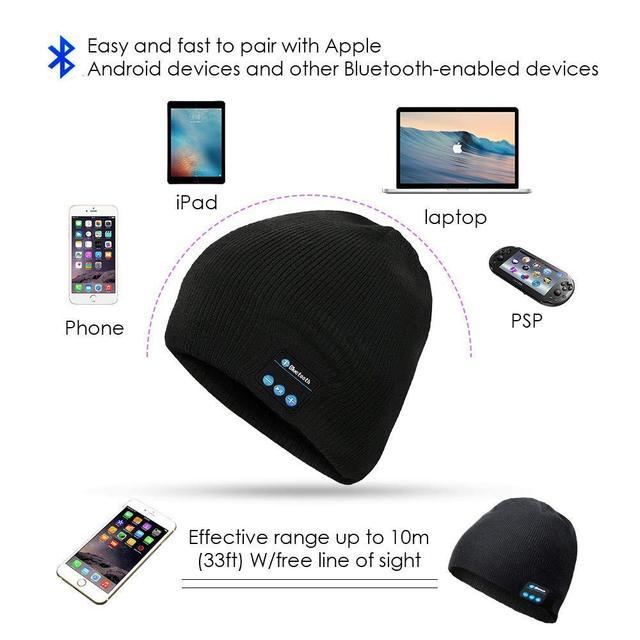 Bluetooth Beanie Winter Hat, Wireless Headphones Beanie, Music cap , Fit for Outdoor Sports, Skiing,Running, Skating, Walking