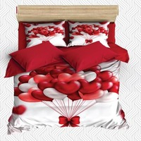 Else 6 Piece Red White Love Balloons Ropes Bow Tie 3D Print Cotton Satin Double Duvet Cover Bedding Set Pillow Case Bed Sheet