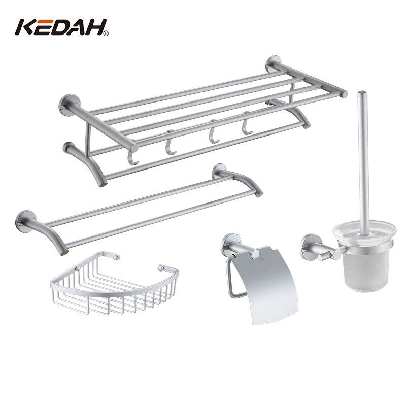 KEDAH 5 Pieces Bathroom Accessories Towel Rack Basket Paper Holer Toilet Brush tbs kedah