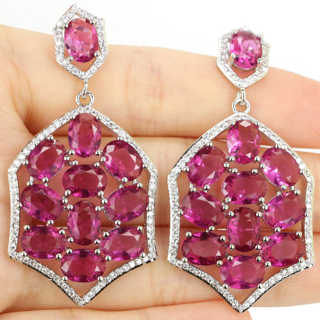 Deluxe Top Long Big Pink Tourmaline White Cubic Zirconia Woman's Silver Earrings 53x27mm
