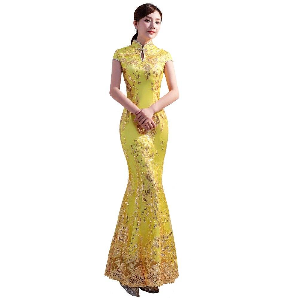 Histoire de Shanghai jaune longue mode design paillettes dentelle brodée sirène queue de poisson style chinois cheongsam robe or Qipao