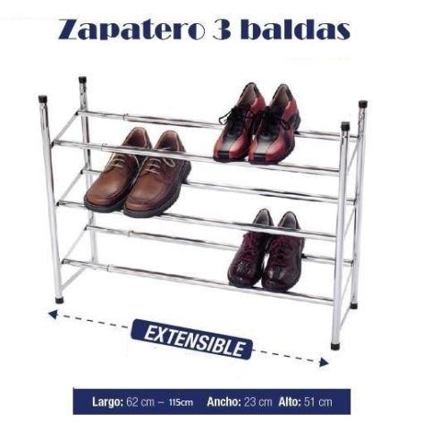 ZAPATILLAS ZAPATERO 2 BALDAS METALICO BRILLANTE PARA 12 PARES DE ZAPATOS