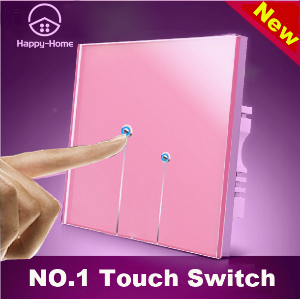 Pink Crystal Glass touch light switch Panel switch touch 2 gangs1 way,Wallpad 110V~220V switch,Free Customize LOGO,Free Shipping new design 2 gangs 1 way crystal glass led black touch switches wallpad ac 110 250v wall light touch screen switch free shipping