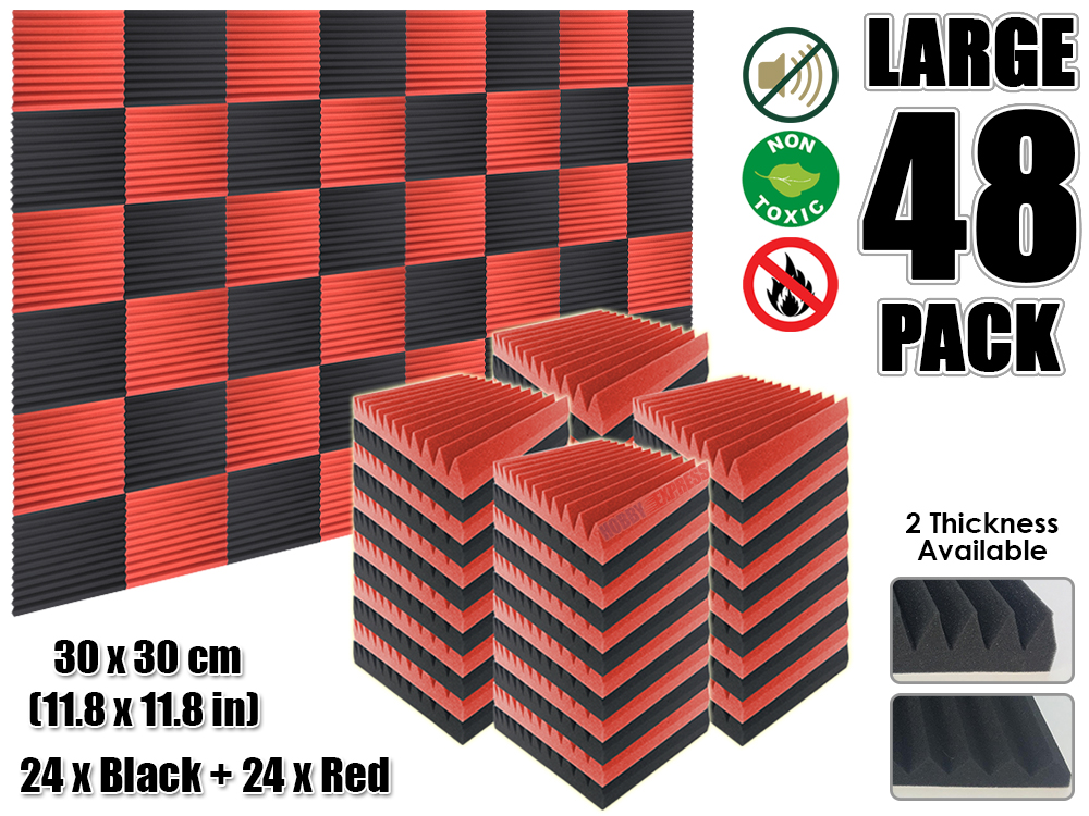 Arrowzoom 48 pcs Red and Black Multi-Wedge 12T Acoustic Studio Foam Tile Sound Absorption Panel 30 x 30 cm (11.8 x 11.8 inches) винтовочный оптический прицел walther airsoft 1 x 30 30 48