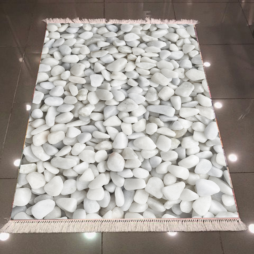 Autre blanc gris galets pierres Nature moderne 3d motif impression microfibre anti-dérapant dos lavable décoratif Kilim tapis tapis