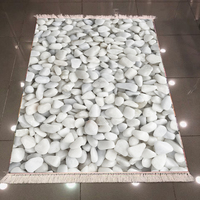 Else White Gray Pebble Stones Nature Modern 3d Pattern Print Microfiber Anti Slip Back Washable Decorative Kilim Area Rug Carpet