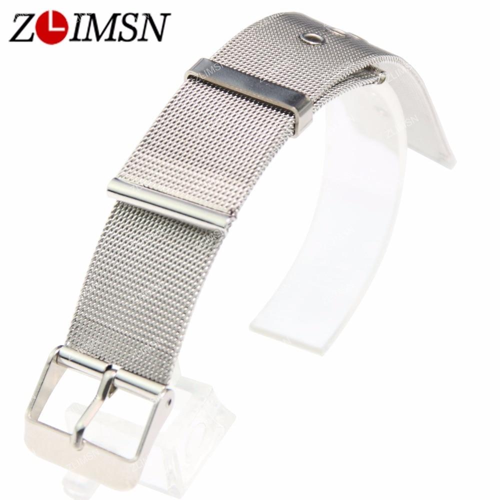 ZLIMSN 12 14 16 18 20mm Watchbands Ultrathin Mesh Stainless Steel Watch Strap Replacement Silver Bracelets Accessories
