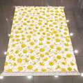 他の白黄色の花花の庭 3d プリントマイクロファイバーアンチスリップバックウォッシャブルキリムキッチンエリアラグカーペット