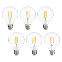 Kohree 6 Packs G25 Led Edison Light Bulb, 4W 110V 2700K Dimmable Bulbs for Vintage Home Decor, Warm White,