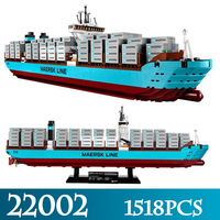 Дизайн серии 22002 1518 шт. в Maersk грузовой контейнер модель корабля строительство Наборы Совместимость LegoINGlys 10241 блок кирпичи игрушки