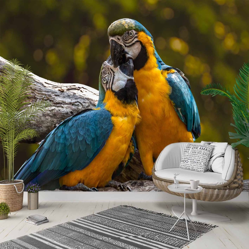 Else Blue Yellow Love Parrots Green Jungle 3d Photo Cleanable Fabric Mural Home Decor Living Room Bedroom Background Wallpaper