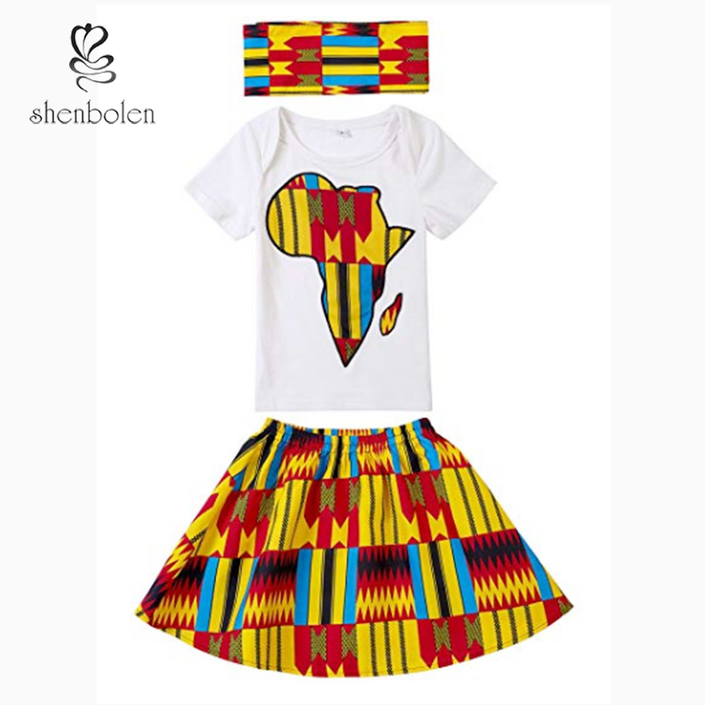 African Clothes For Kids Cotton Material T-shirt+ Skirt +Headband Set African Kids Clothes Dashiki African Fashion Kids Clothes
