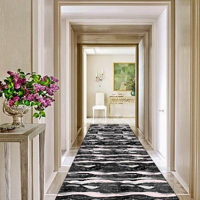 Else Black White Pink Waves Geometric Line 3d Print Non Slip Microfiber Washable Long Runner Mats Floor Mat Rugs Hallway Carpets