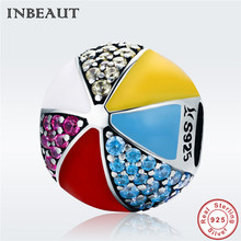CZ Ball Charm fit Pandora Bracelet 925 Sterling Silver Round Colorful Enamel Red&Yellow Cubic Zirconia Stone Beads for Necklace real 925 sterling silver 6mm cubic zirconium round cz tennis bracelet bsqd3055