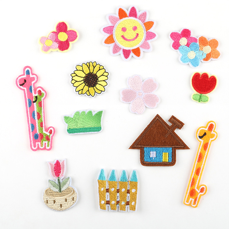 120pcs Iron on Sun Patches for Clothes Embroidered Flower Patch Jeans Applique Fabric Stickers Giraffe Cartoon Patches in Patches from Home Garden