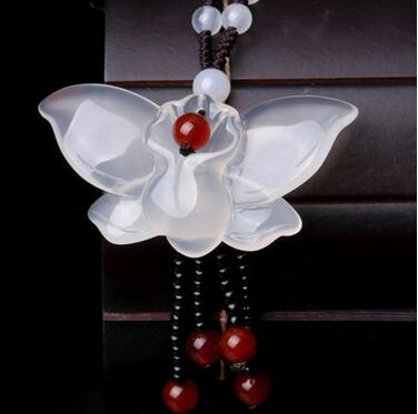 Natural ice chalcedony butterfly couple jadeite pendant>>>Free shipping
