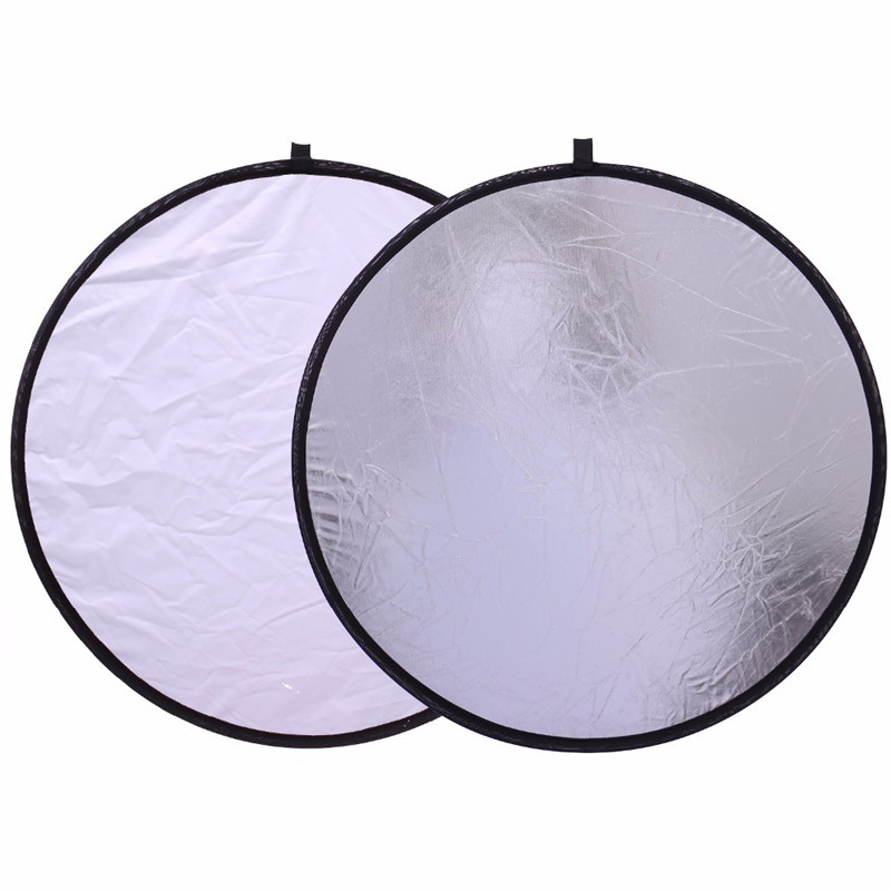 30cm/12INCH 2 IN 1 Collapsible Photo Light Reflector Silver/ White Photography Reflector Portable Photo Accessories