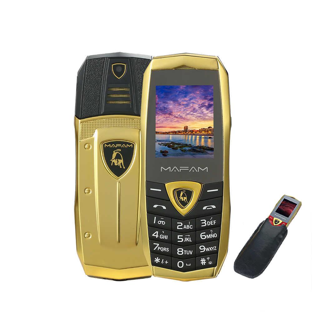 MAFAM A18 cena Mini vibración de Metal de lujo cuerpo de llave de plástico del logotipo del coche Dual Sim con cuero caso libre móvil teléfono A8