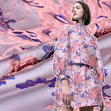 HLQON High quality occident style yarn dyed brocade jacquard pink fabric used for dress women clothing patchwork clothes