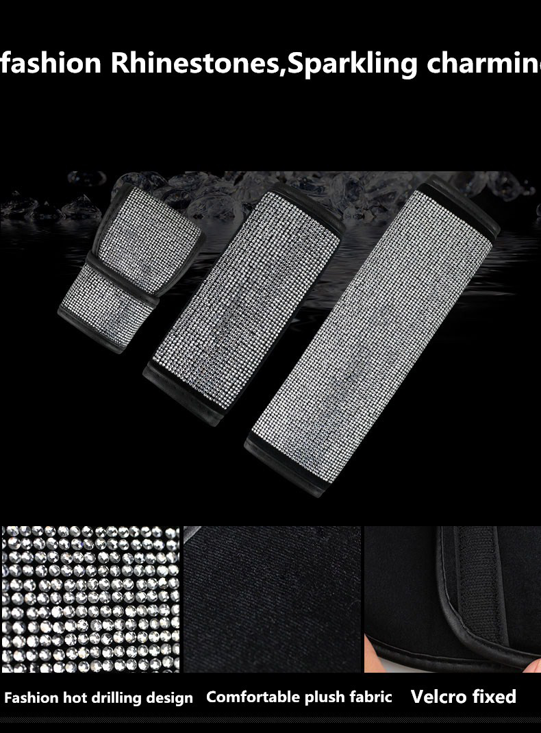 Full-Diamond-Crystal-Car-Safety-Seat-Belt-Cover-Shoulder-Pads-Car-Shifter-Gear-Cover-Hand-Brake-Covers-Auto-Interior-7