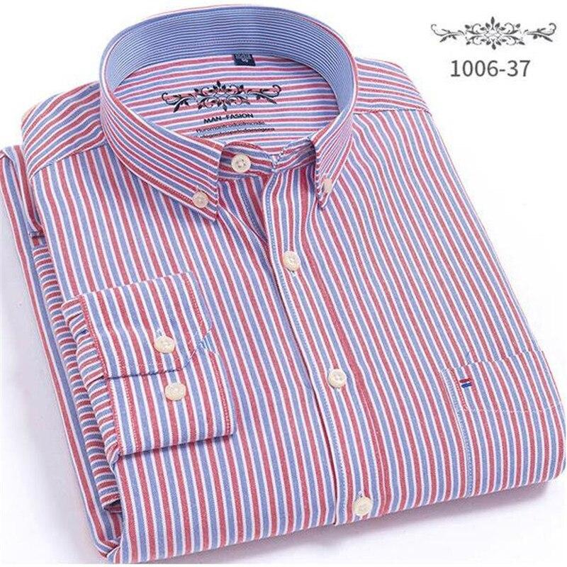 2020 New Spring Autumn Oxford Mens shirts long sleeve Cotton casual shirt solid plaid camisa Big size camisa social masculina
