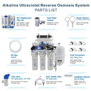Image 5 - 7 Stage Under Sink Reverse Osmosis Drinking Water Filtration System with Alkaline Remineralization Filter & UV 100GPD/220 240V