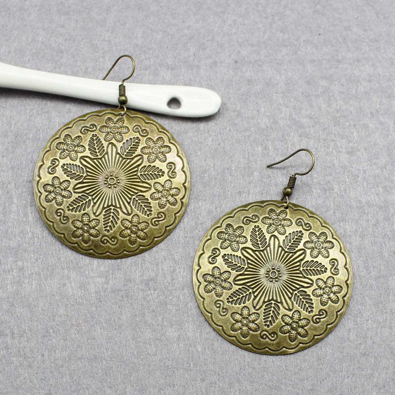 טבעת וינטג 'אופנה מגולפת עגילים בוהמיים מוגזם גדול עלים פרחים עגולים אישית עגילי גבירותיי תכשיטים אתניים