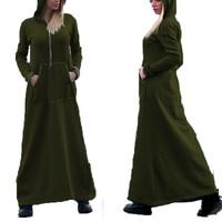 ZANZEA Autumn Winter Long Hooded Pockets Sweats Dress Women Retro Vintage Long Sleeve Pullover Hoodies Sweatshirts