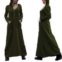 ZANZEA Autumn Winter Long Hooded Pockets Sweats Dress Women Retro Vintage Long Sleeve Pullover Hoodies Sweatshirts Size M 5XL