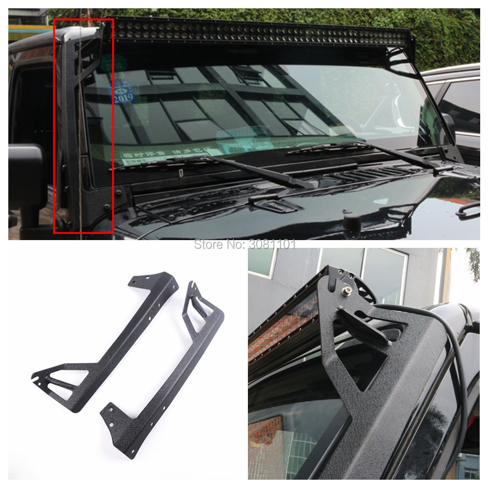 Set of 52inch A-Pillar Hood Mounting Bracket for Auxialiry LED Offroad Work Light for Jeep Wrangler JKU 4 Door 2007~2016