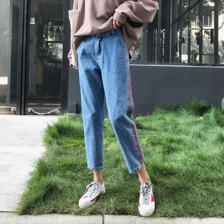 Plus size 5xl women Jeans 2018 spring summer Casual Denim Pants High Waist Ripped Jean Ladies Striped Side Bottom s1779 5