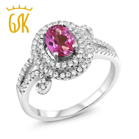 GemStoneKing 2 20 Ct Oval Natural Pink Mystic Topaz Ring Fine Jewelry 925 Sterling Silver Gemstone