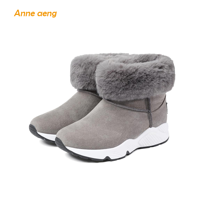 где купить Anne Aeng Women Shoes Ankle Winter Warm Snow Boots Fur Slip-on High Quality Plush Insole Fashion black gray women boots по лучшей цене