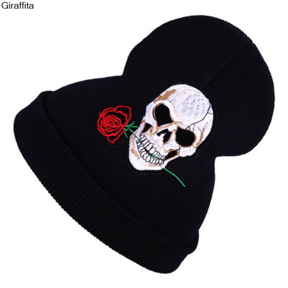 Warm Wool Winter Hat Women Hats Girls Skull And Red Rose Cap Autumn Winter Fashion Beanies Casual Knitted Caps represent clothing designer pants slp destroyed mens slim denim straight skinny biker jeans men slim fit ripped jeans 1376 7 8