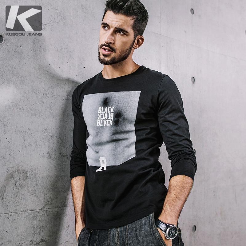 fbbec60549 KUEGOU NOVA Moda outono 100% dos homens do algodão t camisa Marca de moda masculina  camiseta de manga longa ocasional homme 9055