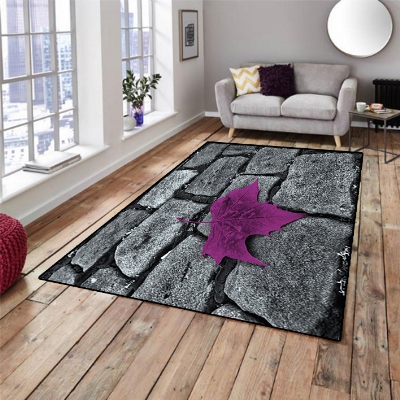 Else Black Brick Wall On Purple Leaf Stones 3d Print Non Slip Microfiber Living Room Decorative Modern Washable Area Rug Mat
