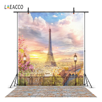 Laeacco Cloudy Eiffel Tower Paris Lanterns View Platform Photography Backgrounds Custom Photographic Backdrops For Photo Studio