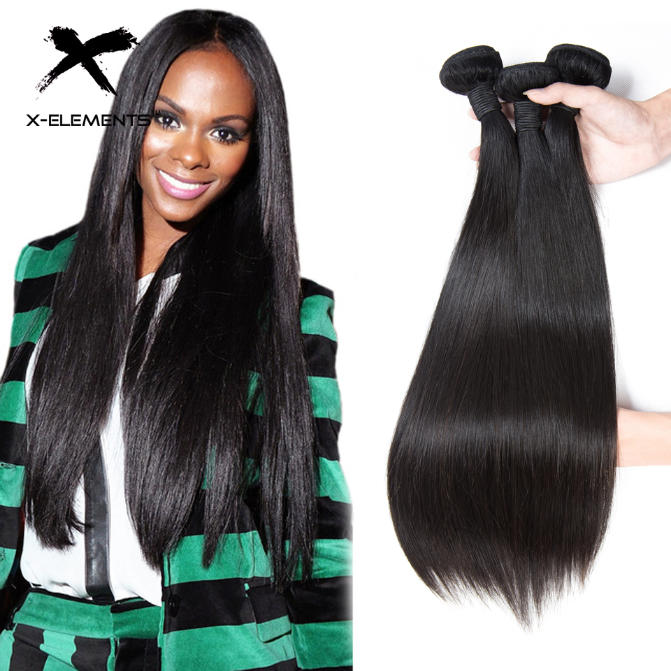 X Elements Hair 100 Human Hair 3 Bundles Straight Brazilian Hair Weave Bundles Natural Color 8