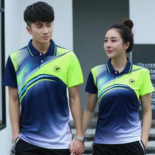 Sports brand Quick Dry breathable badminton shirt,Women Men table tennis team running Fitness exercise training Polo T Shirts(China)