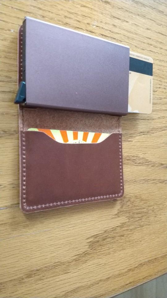 RFID Protected 100% Genuine Leather Card Holder Men Aluminum Metal Business Slim ID Credit Cardholder Multifunction Mini Wallet photo review