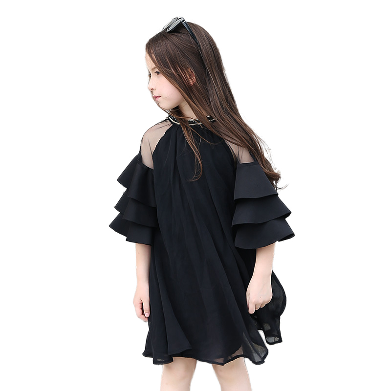 999f2ae0249b3 2017 Summer Girls Chiffon Dress Black Transparent Teens Big Baby Girls Cute  Ruffle Sleeves for Age 5678910 11 12 13 14 Years old