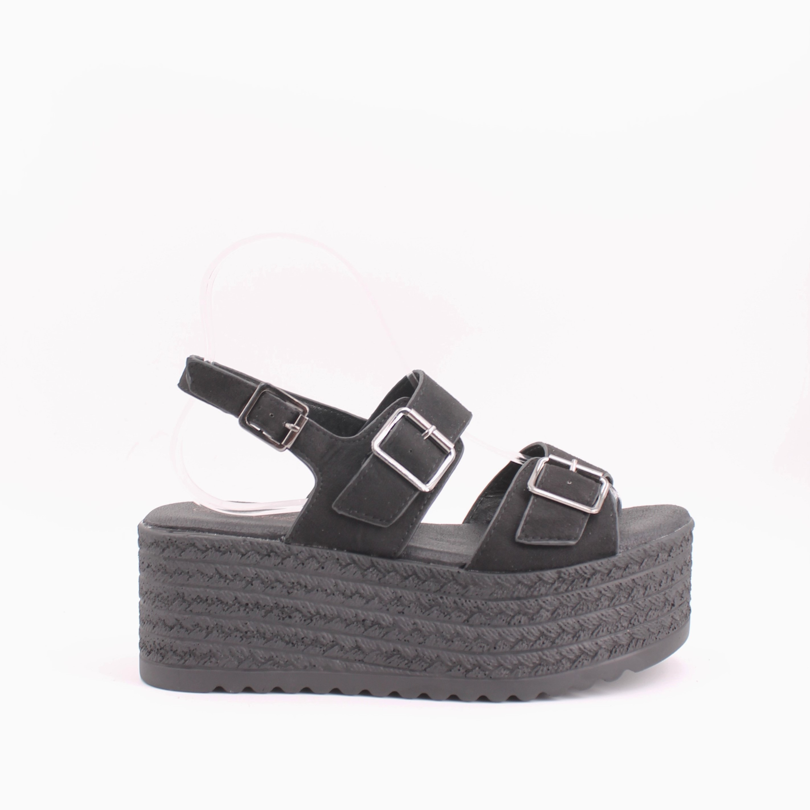 Summer Sandals For Woman With Design And Comfortable SHOES BEACH Black Cam Buckle Platform Sandals With Thick Sole