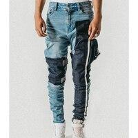 High Quality Pocket Patchwork Distressing Cargo Jeans Buckle Straps Slim Biker Jeans Men Hiphop Streetwear