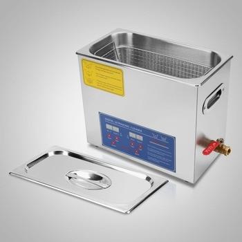 6 Liter Stainless Steel Digital Ultrasonic Cleaner w/ Bracket & Drainage System