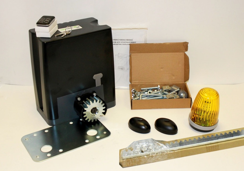 Drive kit DKC800 with mounting plate, photocells, warning light and toothed metal rail
