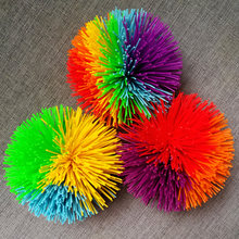 3pcs Monkey Stringy Balls Soft Active Fun Toy Colorful Bouncy Stress Toy Rainbow Pom Children Fidget Sensory Tactile(China)